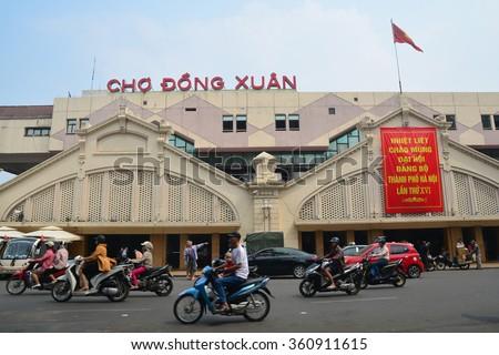 HANOI, VIETNAM - October 25, 2015: Dong Xuan market largest market in Hanoi. - stock photo