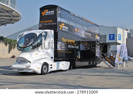 HANOVER, GERMANY, 20 March 2015 - Futuristic truck of Amazon Web Services during CeBit, the largest IT trade show in the world. - stock photo