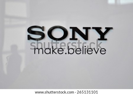 HANOVER, GERMANY, 20 MARCH 2015 - Shiny word brand and logo of Sony on a reflecting white wall during CeBit, the largest information technology trade fair in the world. - stock photo