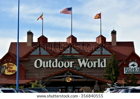 HANOVER, MD, USA - DECEMBER 31, 2015: Bass Pro Shop store front at Arundel Mills mall in Hanover, MD. Bass Pro Shop is a wilderness-themed store with a wide array of hunting, fishing & outdoor gear.