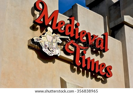 HANOVER, MD, USA - DECEMBER 31, 2015: Medieval Times store front and logo at Arundel Mills mall in Hanover, MD. Medieval Times is a medieval-themed dinner theater. - stock photo