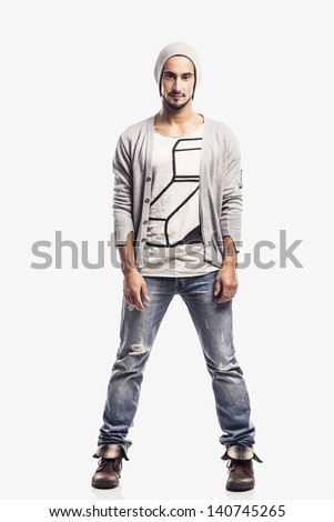 Hansdome young man isolated over a white background - stock photo