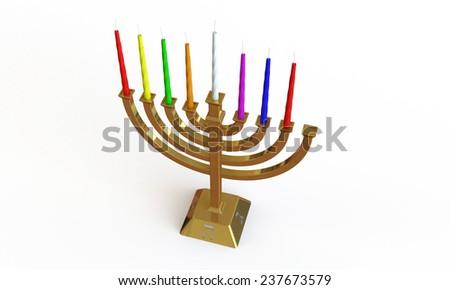 Hanuka menorah and candles isolated on white - stock photo