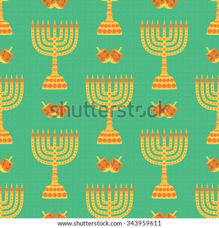 Hanukkah background with menorah, dreidels, candles. Beautiful seamless background - stock photo