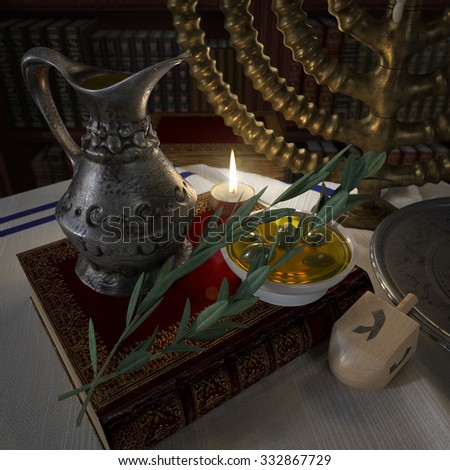 hanukkah close up with candles, old books, spinning top - stock photo