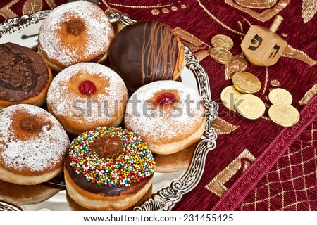 Hanukkah   doughnut  - stock photo