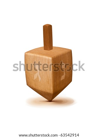 hanukkah dreidel isolated on a white background - stock photo