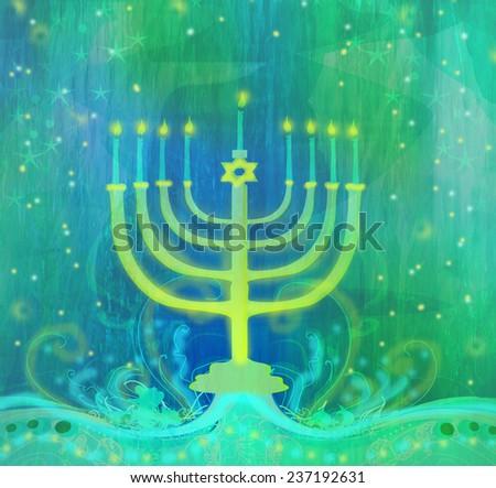 Hanukkah Greeting Card.  - stock photo
