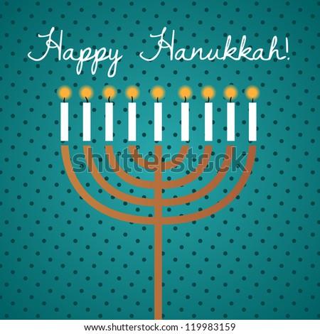 Hanukkah Greeting Card. Happy Hanukkah lettering. Colorful illustration. - stock photo