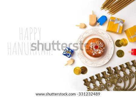 Hanukkah holiday objects on white background. View from above - stock photo