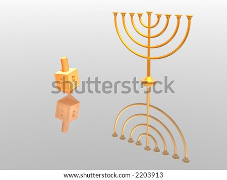 Hanukkah illustration. Menorah. 3D. Look my portfolio. - stock photo