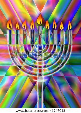 Hanukkah menorah candelabrum - stock photo