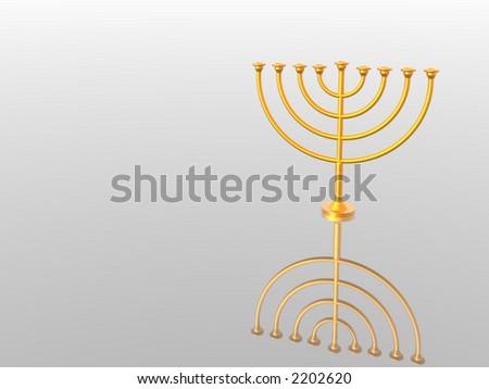 Hanukkah. Menorah. 3D. Look my portfolio. - stock photo