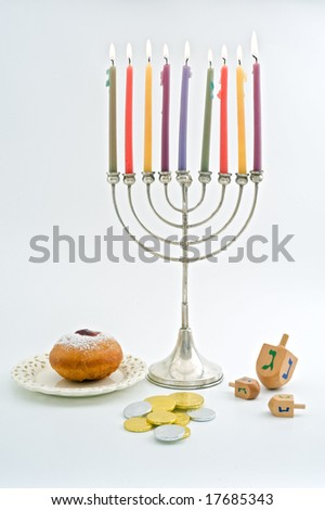 Hanukkah menorah, Dreidel, Chocolate Gelt, donuts, over white - stock photo
