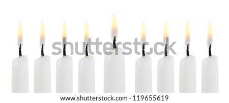 Hanukkah menorah isolated on white background - stock photo