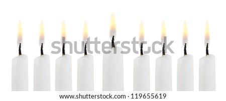 Hanukkah menorah isolated on white background - stock photo