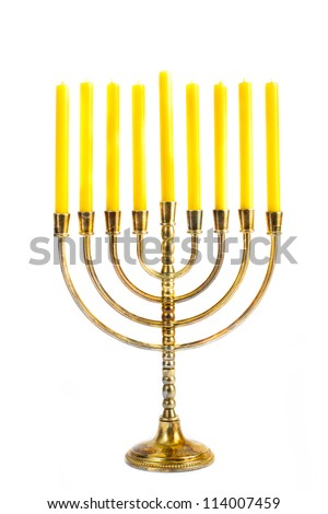 Hanukkah menorah with candles - stock photo