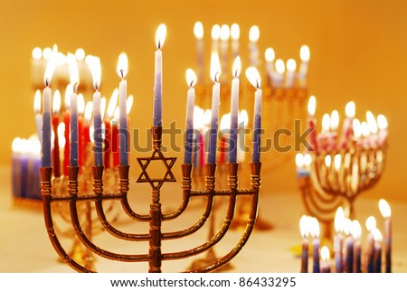 Hanukkah Menorahs - stock photo