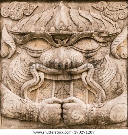 Hanuman bas-relief sculpture from Ramayana, one of the great Hindu epics - stock photo