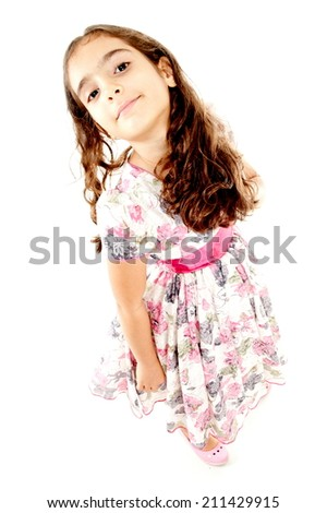 Happ Child like a model over white background - stock photo