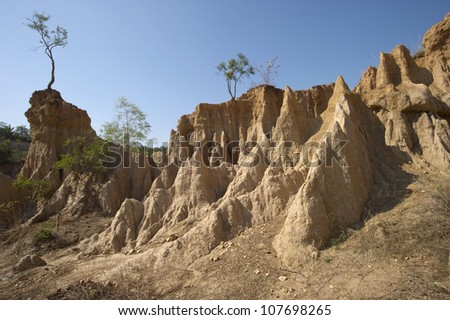 Happened from the soil erosion of Rain and wind naturally, Nan,Thailand - stock photo