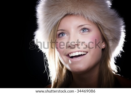 happiest girl in hat smiling