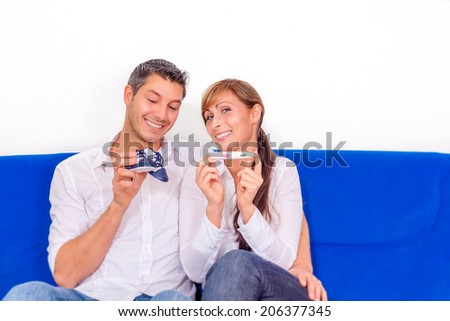 happiness after positive pregnant test  - stock photo
