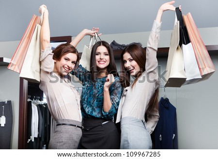Happiness after shopping - stock photo