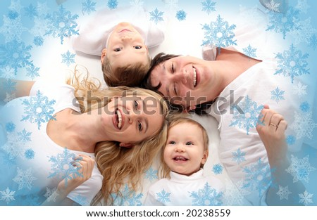Happiness amicable family - stock photo