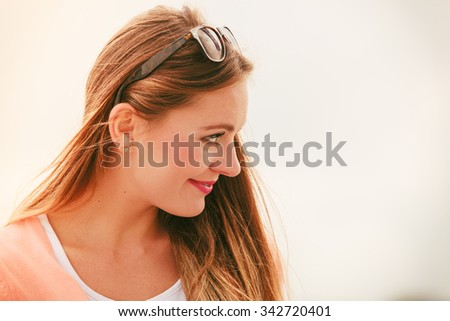 Happiness and joy. Portrait of beauty fashionable woman in sunglasses outdoor. Summertime. - stock photo