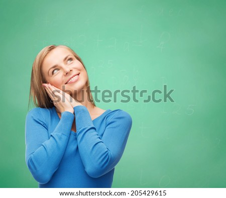 happiness and people concept - happy young woman - stock photo