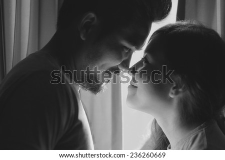happiness and romantic scene of love asian couples partners making eye contact - stock photo