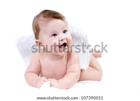 Happiness baby angel on the white background - stock photo