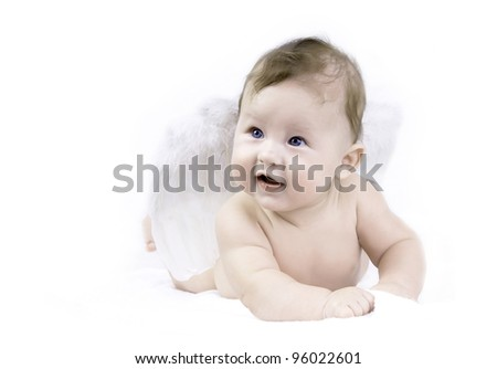 Happiness baby angel on the white background