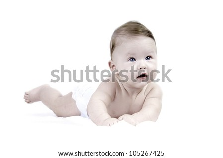 Happiness baby on the white background