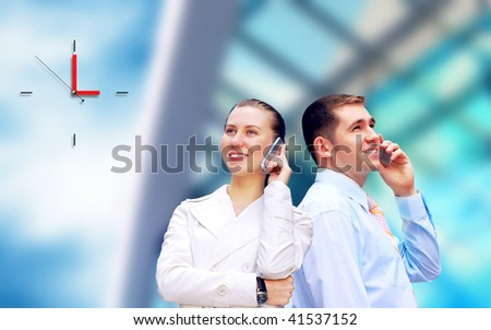 Happiness businessman on the business architecture background - stock photo