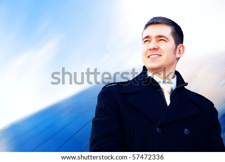 Happiness businessman on the business architecture background