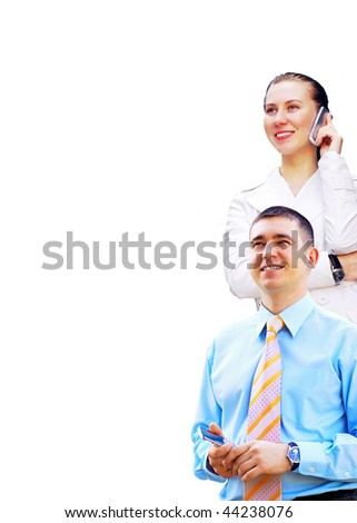 Happiness businessmans on the business architecture background - stock photo