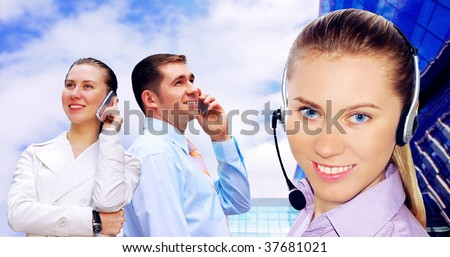 Happiness businessmens call by phone - stock photo