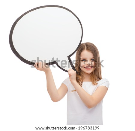 happiness, child, conversation and people concept - smiling little girl with blank text bubble - stock photo