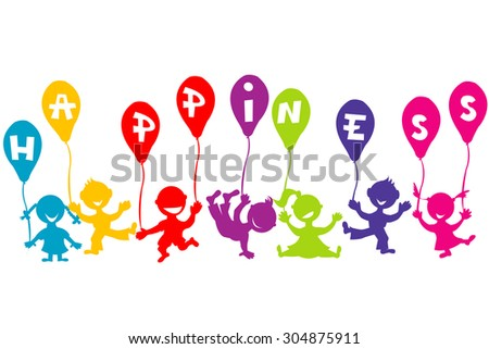 Happiness childhood concept with children and balloons