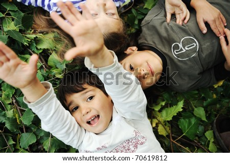 Happiness, childhood, nature - stock photo