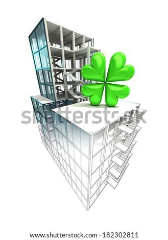 happiness concept of architectural building plan finishing illustration - stock photo