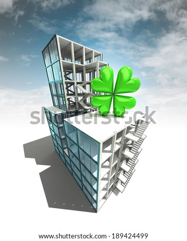 happiness concept of architectural building plan with sky illustration - stock photo