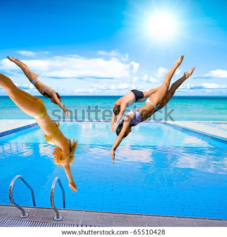 Happiness Diving Team - stock photo
