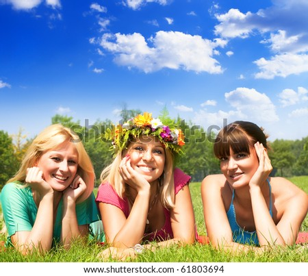 Happiness friends enjoyment in beautiful day . - stock photo