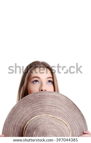 Happiness. Happy summer woman isolated in studio. Energetic fresh portrait of young woman excited  with a beach hat - stock photo