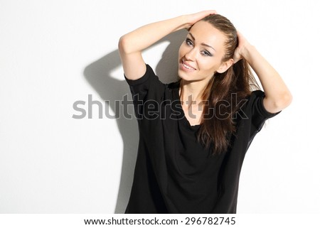 Happiness, joyful woman. Portrait of smiling beautiful natural women. - stock photo