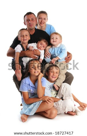 Happiness large family with five children - stock photo