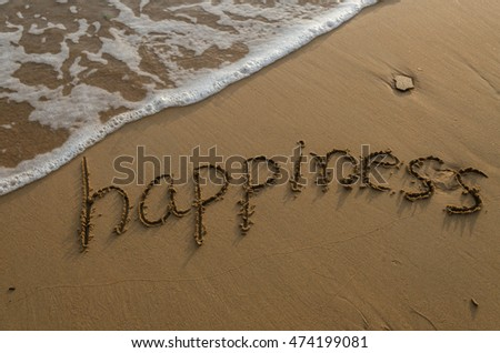 happiness. message on the beach. Alphabet handwritten in sand on beach. vacation and travel concept. background.
